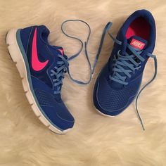 Women's Nike Flex Women's Nike flex experience. Cobalt blue and pink no trades no price comments no comments from non serious buyers or you will be blocked no holdsno bundling unless purchasing the same day no lowballing ✔️I ship the next day Nike Shoes Sneakers
