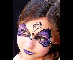 Face Painting Ideas For Butterfly Costume by Theresa Cruz Butterfly Face Paint, Butterfly Makeup, Butterfly Costume, Purple Butterfly, Butterfly Mask, Face Painting Designs, Paint Designs, Body Painting, The Face