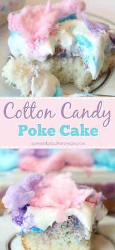 This super easy cake has a light cotton candy flavor plus a colorful white chocolate pudding soaked in, then topped with cool whip and cotton candy. #cottoncandycake #easycake #cakerecipe