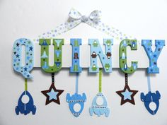 Items similar to Baby Name Sign Letters) - Custom Hand Painted Wood Letters to Coordinate with Target Dwell Studio Space Theme Nursery Bedding on Etsy Wood Letters Decorated, Painted Wood Letters, Hand Painted Walls, Wooden Letters, Outer Space Nursery, Space Themed Nursery, Girl Nursery Bedding, Nursery Decor, Nursery Ideas