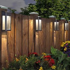 Paradise Solar LED Post Lights - 4 Pack Garden/Home/Deck/Garage/Patio Lighting - RZHomestore Fence Lighting, Backyard Lighting, Outdoor Lighting, Outdoor Decor, Lighting Ideas, Backyard Solar Lights, Outdoor Post Lights, Solar House Lights, Solar Garage Lights