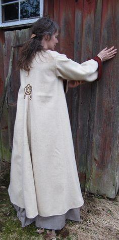 I really want to recreate this coat...  White full-length homespun coat.