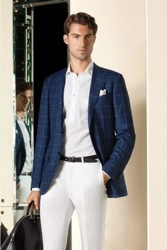 Shop this look for $329:  http://lookastic.com/men/looks/blazer-and-polo-and-pocket-square-and-belt-and-dress-pants/240  — Navy Plaid Blazer  — White Polo  — White Pocket Square  — Black Leather Belt  — White Dress Pants