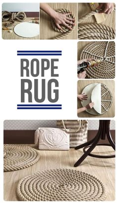 DIY Nautical Home Decor. Quick easy DIY CRAFT project using rope. Make a rug. Nautical decorating. Love it