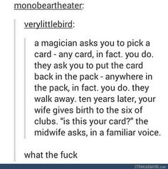 The ultimate card trick - Funny tumblr post