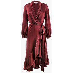 Zimmermann Silk Wrap Dress With Ruffle Detail (£520) ❤ liked on Polyvore featuring dresses, red, frill dress, silk dress, burgundy wrap dress, red flounce dress and flounce dress