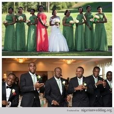 Nigerian Wedding bridal party in green and coral