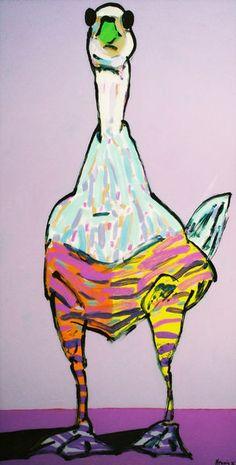 Wolf-Dieter Pfennig: Ente, Hinterglasmalerei  Acrylglas / Acrylfarbe, ca. 200 cm x 100 cm.  Einzelne Originale sind noch erhältlich. Die Serie ist außerdem als Kalender verfügbar.