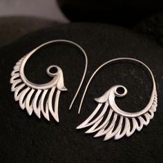 Goddess Wing Earrings  Sterling Silver by Zephyr9 on Etsy, $75.00