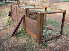 Compost bins built from old decking