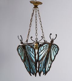Vienna (attributed). Butterflies ceiling light c1912 H. 65 cm; 42 x 42 cm Bronze, patina, opal blue glass. Art Déco metal, brass, pewter, copper, plated