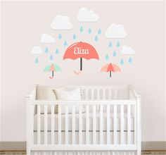 Personalized Wall Decals from NameBubbles.com - Rainy Day Parade Wall Decal #kidsroom #decor #walldecals