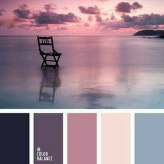 Shades of the eggplant color match the pastel shades of blue very harmoniously. This palette of cold colors is appropriate for bedroom decoration. Design Seeds, Colour Pallette, Color Combos, Sunset Color Palette, Sunset Colors, Bedroom Color Palettes, Purple Color Palettes, Purple Palette, Purple Sunset