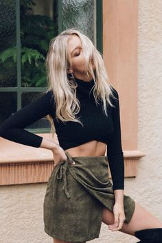 Something different olive wrap high waist skirt black turtle neck crop top summer outfit fall outfit style fashion inspo ootd