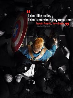 ''I don't like bullies. I don't care where they come from.'' / Steve Rogers : Captain America - Visit to grab an amazing super hero shirt now on s Captain America Quotes, Chris Evans Captain America, Marvel Captain America, Captain Quotes, Steve Rogers, Marvel Dc Comics, Marvel Heroes, Marvel Avengers, Peggy Carter