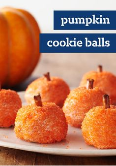 Pumpkin Cookie Balls -- Rich and crispy, these cute cream cheese and crushed peanut butter Halloween cookie balls are the treat, not the trick.