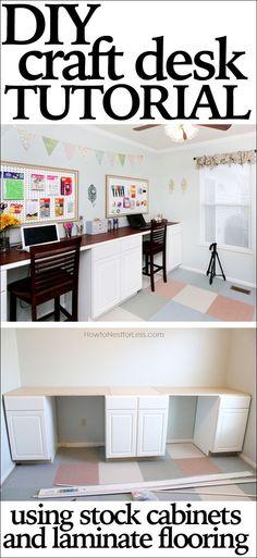 diy craft desk tutorial --- not actually   laminate. floating vinyl plank. but still cool.
