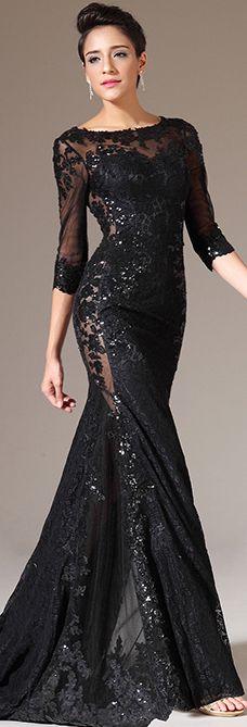 lack Half Sleeves Lace Dress #Lace #Dress #Prom #Evening #Fashion