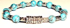 Blue Boy  I Am Victory Men's Healing Bracelet by ANenaJewelry, $57.17   Turquoise is rare and very valuable. ( is a combination of copper and aluminium, with the chemical formula CuAl6(PO4)4(OH)8·4H2O with a Mohs hardness of 5.9)   It helps with: being able to thinking positively, protection and wise thinking, and balance and opening one to be able to accept Love ♥  Speedy delivery,Excellent customer service and quality materials.
