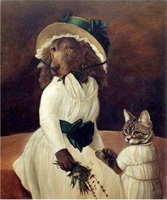 """Amy and Ashley"" by Melinda Copper, anthropomorphic art Dog Artwork, Animal Society, Human Art, Girl And Dog, Animal Heads, Dog Paintings, Animal Fashion, Cool Pets, Dog Portraits"