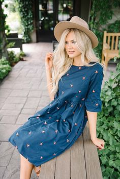 Remi Embroidered Dress in Navy