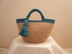 Rikoリボン 持ち手カラーの麻ひもバッグ + タッセル (青)