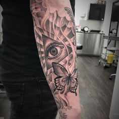 #tattoo #eye #butterfly #sleeve #blackandgrey #mattroetattoo