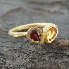 Garnet, Citrine Gold Teardrop Stacking Ring