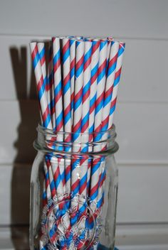 25 red white and blue barber stripe paper by isakayboutique, $4.00