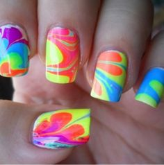 Water Marble Nails: You put water in a bowl and drop random colors of nail polish in it. then you stir it with a toothpick and put petroleum jelly on your fingers, so that the nail polish only gets on your nails. then you stick your fingers in the bowl. Tie Dye Nails, Do It Yourself Nails, How To Do Nails, French Nails, Cute Nails, Pretty Nails, Water Marble Nails, Manicure E Pedicure, Neon Nails