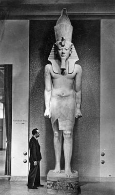 """grandegyptianmuseum: """" Monumental pharaoh statue A tall quartzite statue of king Tutankhamun. Orignally from the Temple of Aye and Horemheb, ca. Oriental Institute Museum, University of Chicago, 1935 """" Egyptian Kings, Egyptian Pharaohs, Ancient Egyptian Art, Ancient History, Art History, Amenhotep Iii, Egypt Museum, Isis Goddess, Valley Of The Kings"""