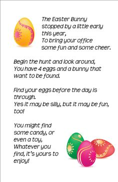 Easter Egg Hunt at the Office: I hid a Peeps bunny and 4 plastic eggs filled with goodies in each person's office and put this little poem on their door. {Poem by Aimée Lefever} Easter gifts activities for work Easter Hunt, Easter Party, Easter Eggs, Employee Appreciation Gifts, Employee Gifts, Easter Activities, Spring Activities, Fun Office Activities, Jai Faim