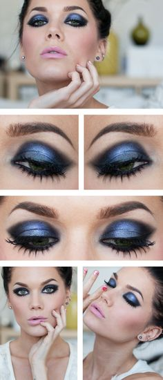 Linda Hallberg makeup look. Dramatic shimmery midnight blue smokey eye with light cool pink lips. Intense, and good for a date, club, or any night out, and works in the spring summer fall or winter.