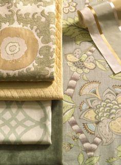Fabrics: Corazon/Seaglass. Fioretto/Sprout. Clarice/Dove.