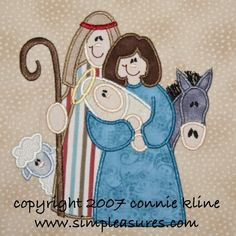 Christmas Cute Nativity applique machine embroidery design large hoop