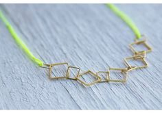 Gold Square w/ Neon Colored Necklace