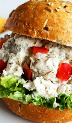 Looks so good! Feta Dill Chicken Salad Sandwich via Devour #comfort #gameday