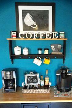 Coffee Bar Ideas - DIY Decorating Ideas for a Kitchen Coffee Bar, Coffee Nook or Small Kitchen Coffee Area Coffee Desk, Coffee Area, Coffee Corner, Coffee Bars In Kitchen, Coffee Bar Home, Coffee Shop, Building A Home Bar, Small Bars For Home, Diy Apartment Decor