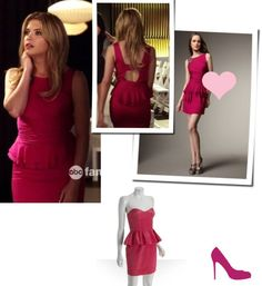 pretty little liars is definitely my current obsession... i usually like aria's style the best but sometimes hanna wears something that just SPEAKS to me, like this fabulous neiman marcus peplum dress.