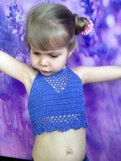 Cornflower blue top crochet/ Open back yoga top/ Crochet toddler baby top/ 2T 3T 4T 5T crochet top/ Festival boho top/ Crochet lace crop top by ElenaVorobey on Etsy