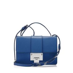 Jimmy Choo Rebel $975  Wear this boxy Aegean blue bag across the body for an urban look or remove the shoulder strap to carry as a clutch. Rebel is a versatile bag with iconic hardware and a youthful spirit.