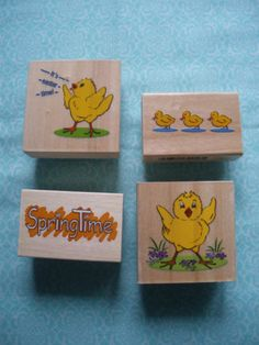 New Easte wood mounted rubber stamps 4 designs chicks and springtime   eBay