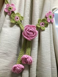 Crochet Curtain Tiebacks - 1 set of pink / green apple tiebacks by JinesCrafts on Etsy