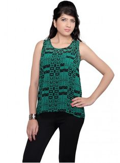 Black and Green Georgette Short Top