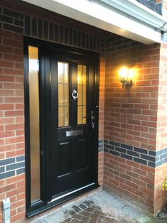 Porch Uk, Front Door Porch, Porch Doors, House Front Door, Entrance Doors, Front Door Decor, Black Composite Front Door, Black Front Doors, Door Ideas