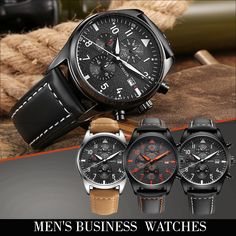 Men's Business Watches Leather Box, Band, Watches, Business, Accessories, Wrist Watches, Wristwatches, Ribbon, Tag Watches