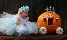 Raegan's Cinderella costume and pumpkin  carraige I decorated