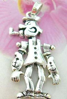Fun jewelry shopping agent exports Popeye figure necklace charm, with movable head, arms and legs, made from sterling silver