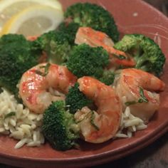 Shrimp with Broccoli.  Simple ingredients, dont even have to go to the store to get stuff for this :-)