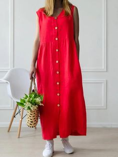 Cotton-blend Linen V-neck Casual Dress Chiffon Maxi Dress, Maxi Dress With Sleeves, Bodycon Dress, Maxi Dresses, Womens Linen Clothing, Ladies Dress Design, Casual Dresses For Women, Boho Dress, Types Of Sleeves